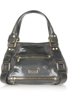 Jimmy Choo Patent and Suede Shoulder Bag