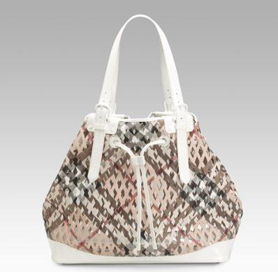 Burberry check net drwstring bag