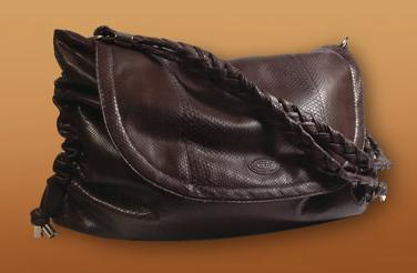 Tods brown snake skin bag