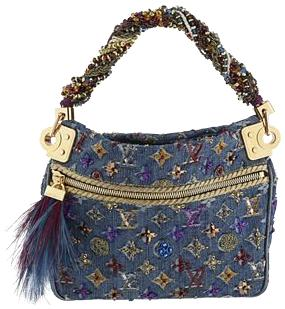 Louis Vuitton Python Interior Embroidered Denim Purse