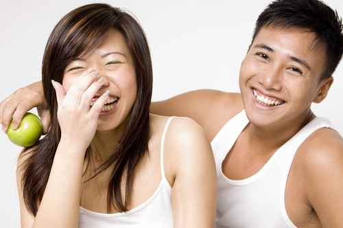 couple laugh