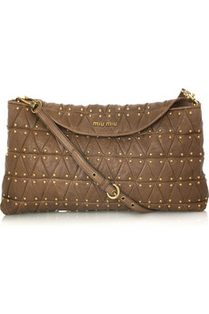 Miu Miu Studded Leather Messenger Bag
