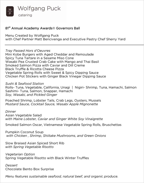 Oscars Governor's Ball Menu