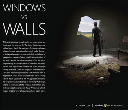 windows versus walls microsoft ad campaign