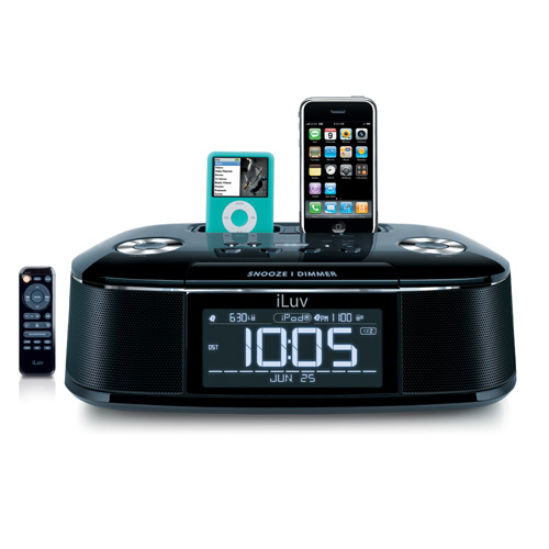 Introducing the iLuv Dual Alarm Clock Dock Station, also known as iMM173.  This iPhone docking station also accommodates your iPod at the same time, and even comes with a built-in FM radio and alarm clock.  You can even let your devices charge in this unique iPod docking station while you sleep and your gadget will play your favorite music to wake you up.