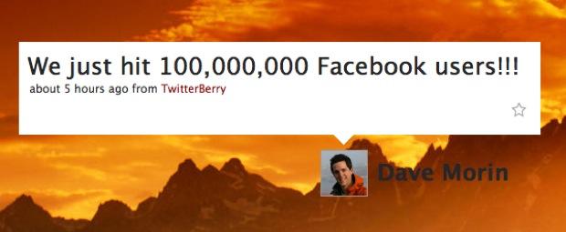 facebook 100 million tweet