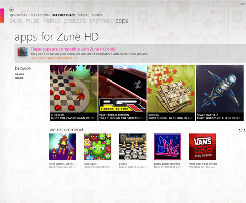 Zune HD comes with 3D games