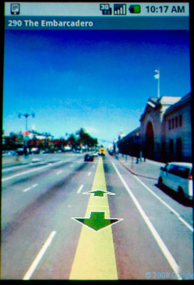 google maps street view mobile cel phones walking directions android